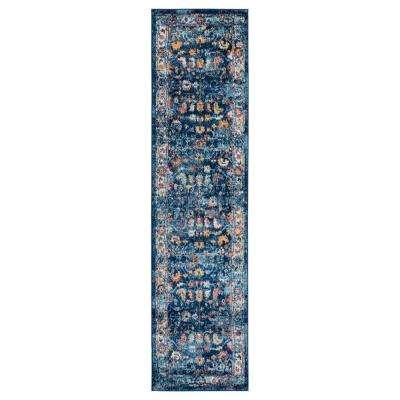 Alexis Navy Bordered 2 ft. 6 in. x 10 ft. 3 in. Runner Rug