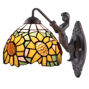 Amora Lighting Tiffany Style Sunflower Wall Lamp by Amora Lighting