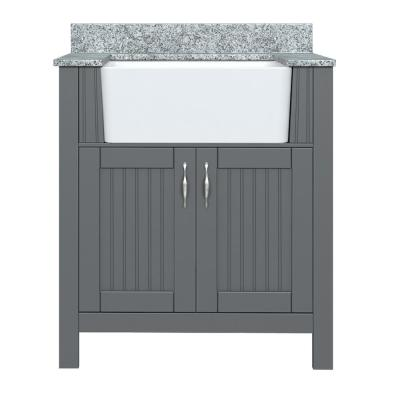 Davenport 31 in. W x 19 in. D Bath Vanity in Twilight Gray with Granite Vanity Top in Viscont White with Farmhouse Sink