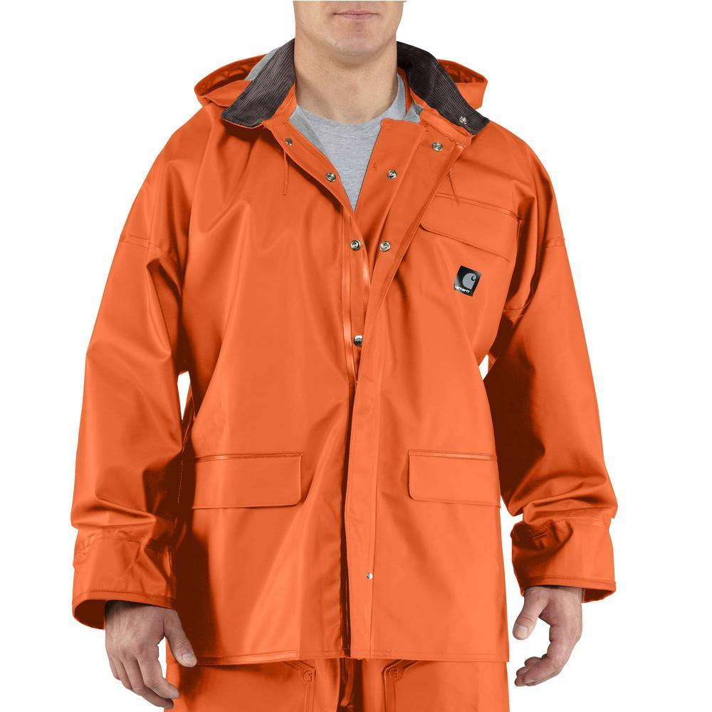 Men's Large Orange PVC/Polyester Surrey Coat
