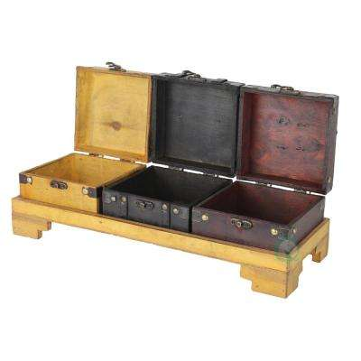 16.3 in. x 5.5 in. x 3 in. Wooden Three Colored Treasure Chests on Tray