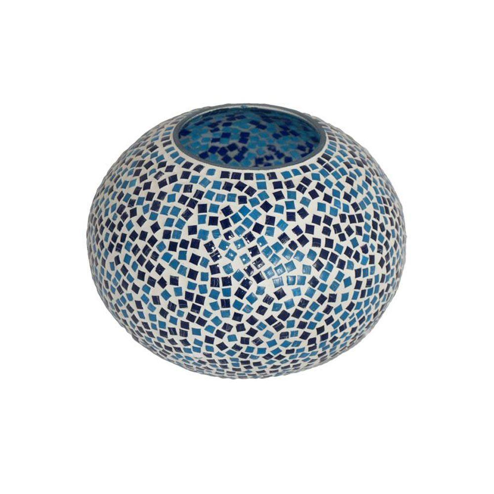 Home Decorators Collection 4.5 in. H Blue Mosaic Candleholder