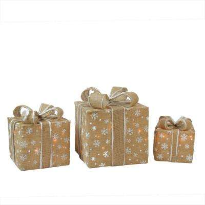 christmas outdoor decorations lighted natural snowflake burlap gift boxes 3 pack