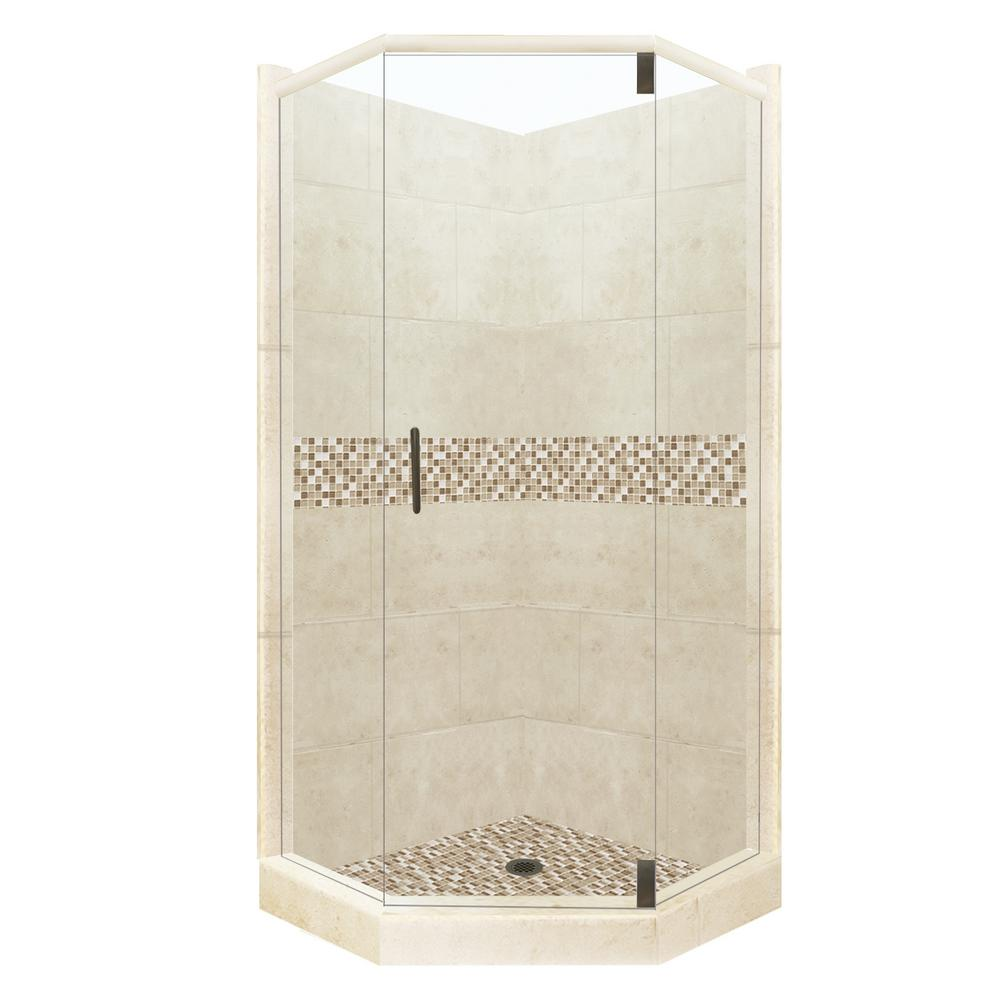 American Bath Factory Roma Grand Hinged 38 in. x 38 in. x 80 in. Neo-Angle Shower Kit in Desert Sand and Old Bronze Hardware