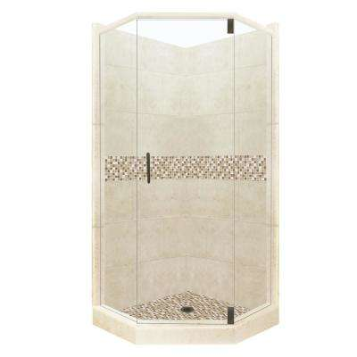 Roma Grand Hinged 42 in. x 48 in. x 80 in. Left-Cut Neo-Angle Shower Kit in Desert Sand and Old Bronze Hardware