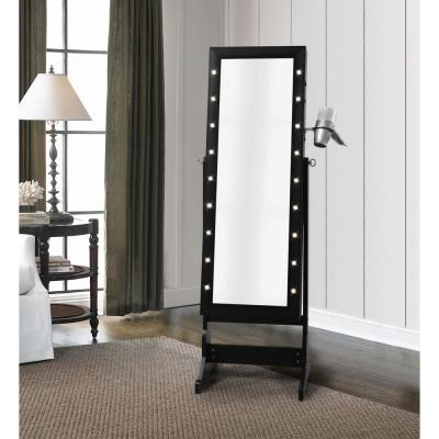 Amelie Marquee LED Light Cheval Floor Mirror Black Jewelry Armoire Organizer