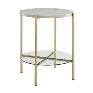 20d7c4a4456a3 Internet  306650910. Walker Edison Furniture Company 20 in. White Marble  and Gold Simone Round Side Table