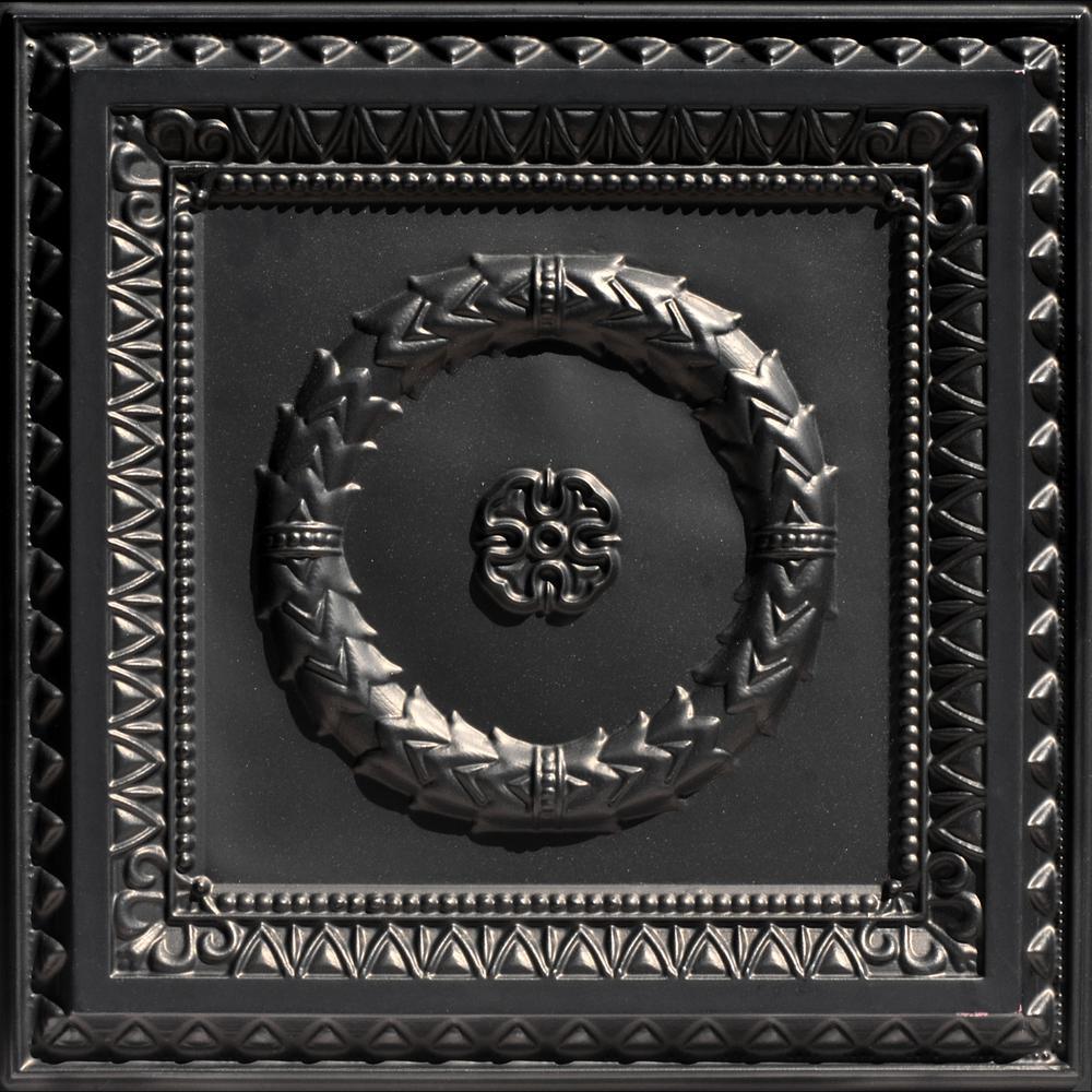 Laurel Wreath 2 ft. x 2 ft. PVC Glue-up or Lay-in Ceiling Tile in Black