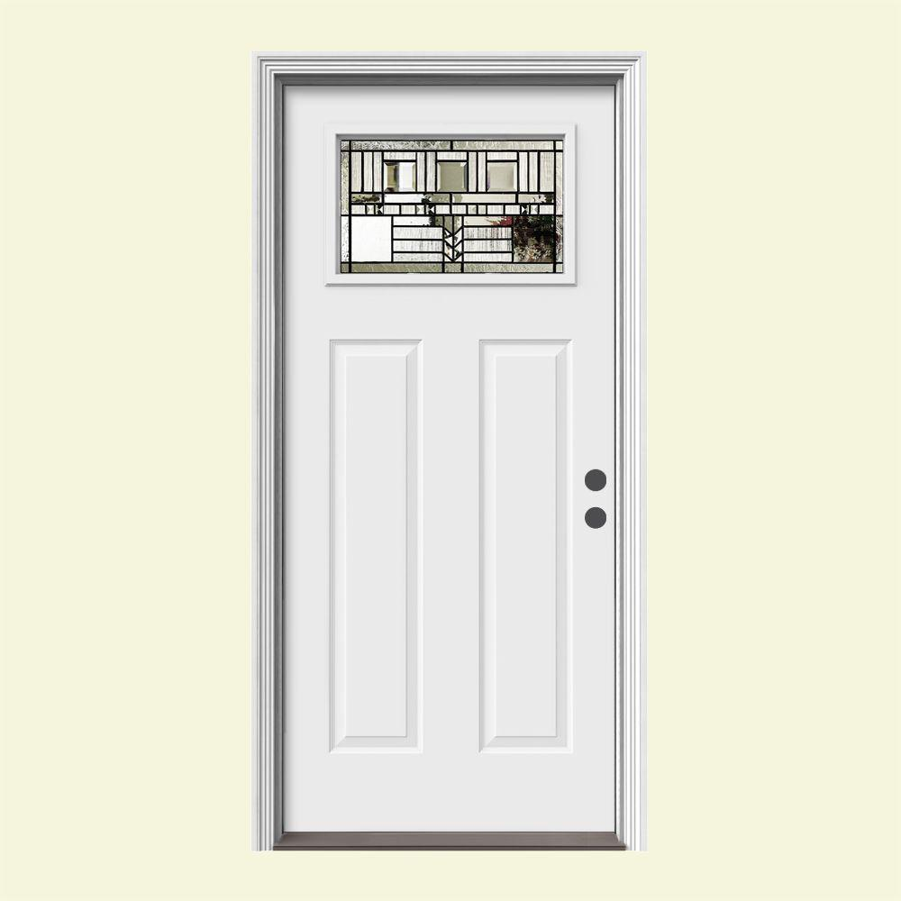 JELD-WEN 36 in. x 80 in. 1 Lite Craftsman Oak Park Primed Steel Prehung Left-Hand Inswing Front Door w/Brickmould