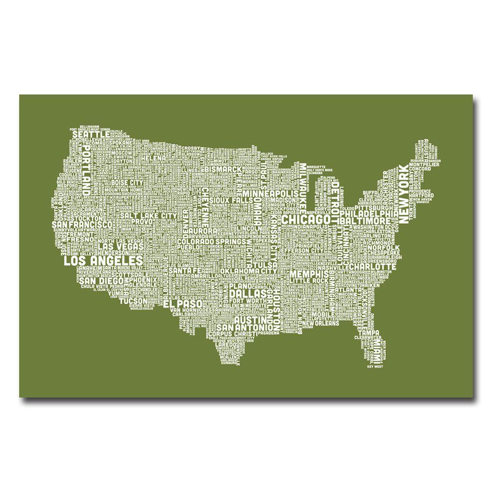 Trademark Fine Art 30 in. x 47 in. US City Map VI Canvas Art