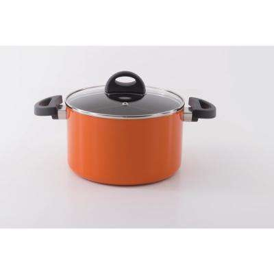 Eclipse 4 Qt. Aluminum Non-Stick Orange Casserole Dish with Lid