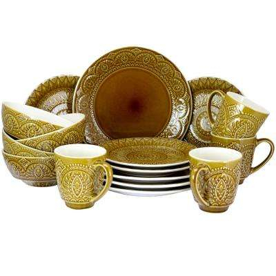 Cleo 16-Piece Gold Dinnerware Set