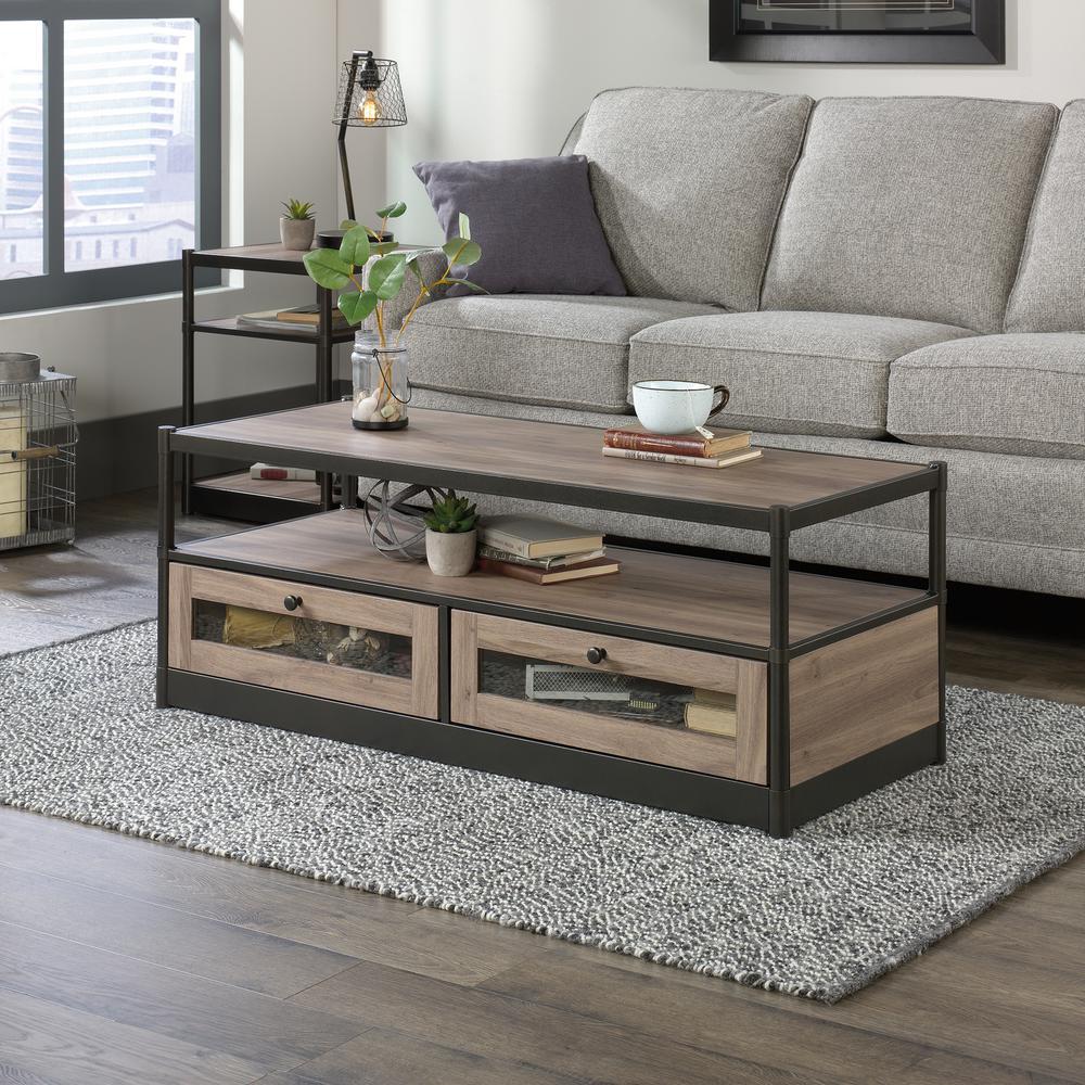 Lane Coffee Table With Drawers: SAUDER Barrister Lane Salt Oak 2-Drawer Coffee Table