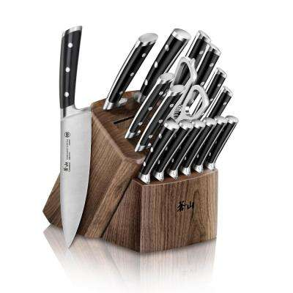 TS Series Swedish Sandvik Steel Forged 17-Piece Knife Block Set in Walnut