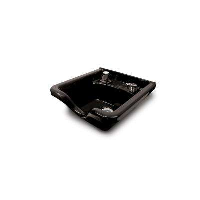 Alpha 18-3/4 in. W x 8-3/4 in. D Enamel Shampoo Sink with 522 Fixture, Spray, Strainer and Bracket in Black