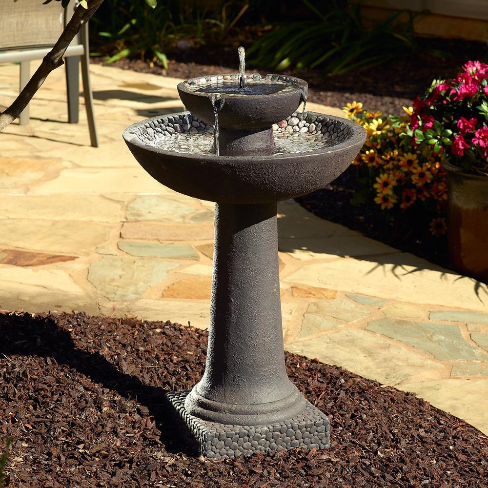 River Stone Brown 2-Tier Solar-On-Demand Fountain
