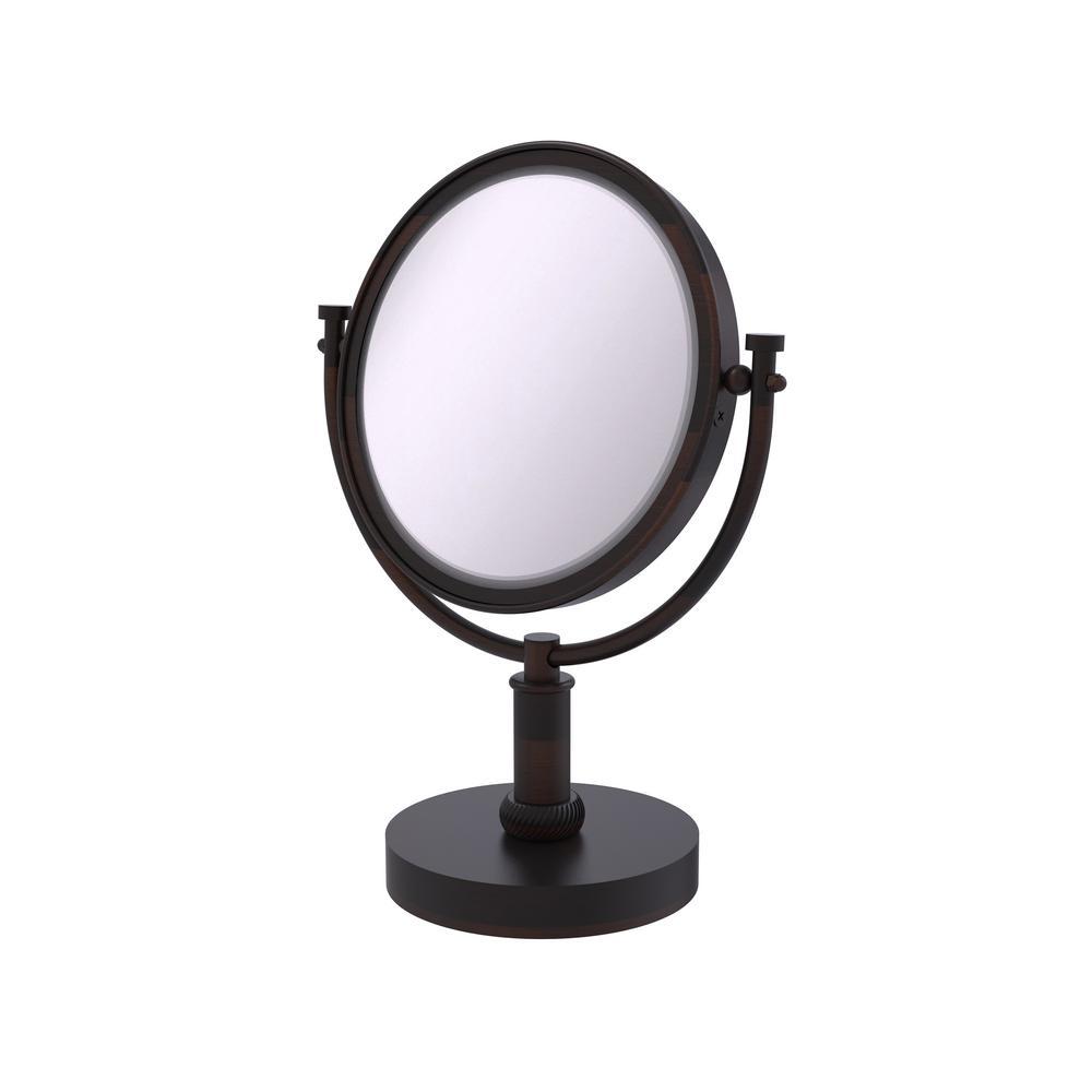8 in. x 15 in. x 5 in. Vanity Top Single Makeup Mirror 4X Magnification in Venetian Bronze