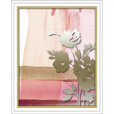 "16 in. x 20 in. ""Pink Abstract Watercolor W. Printed Peony"" Shadowbox Wall Art"