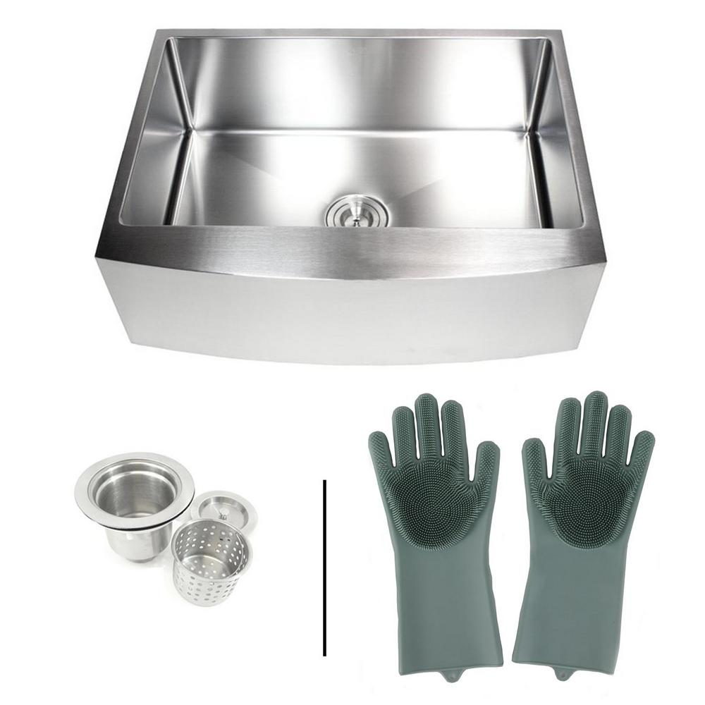 eModernDecor Farmhouse Apron 16-Gauge Stainless Steel 30 in. Curve Front  Single Bowl Kitchen Sink with Silicone Gloves and Strainer