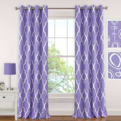 Blackout Emery 52 in.Wx84in.L, Juvenile Teen or Tween Blackout Room Darkening Grommet Window Curtain Drape Panel, Purple