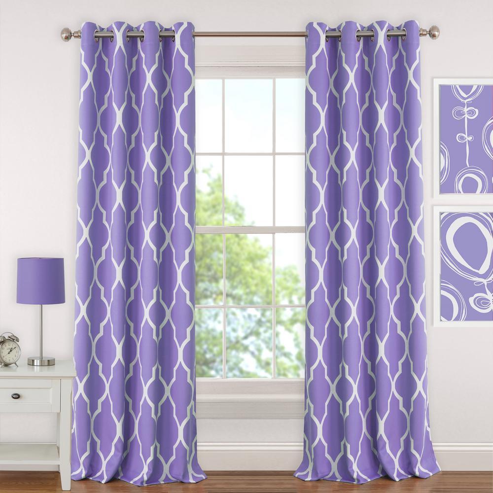Blackout Emery 52 in.Wx95in.L, Juvenile Teen or Tween Blackout Room Darkening Grommet Window Curtain Drape Panel, Purple