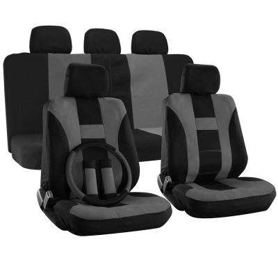 Polyester Seat Covers Set 26 in. L x 21 in. W x 48 in. H 17-Piece Seat Cover Set H-Striped Black and Gray
