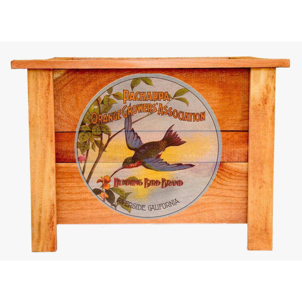 22 in. Redwood Wood Planter Box with Vintage Art Hummingbird