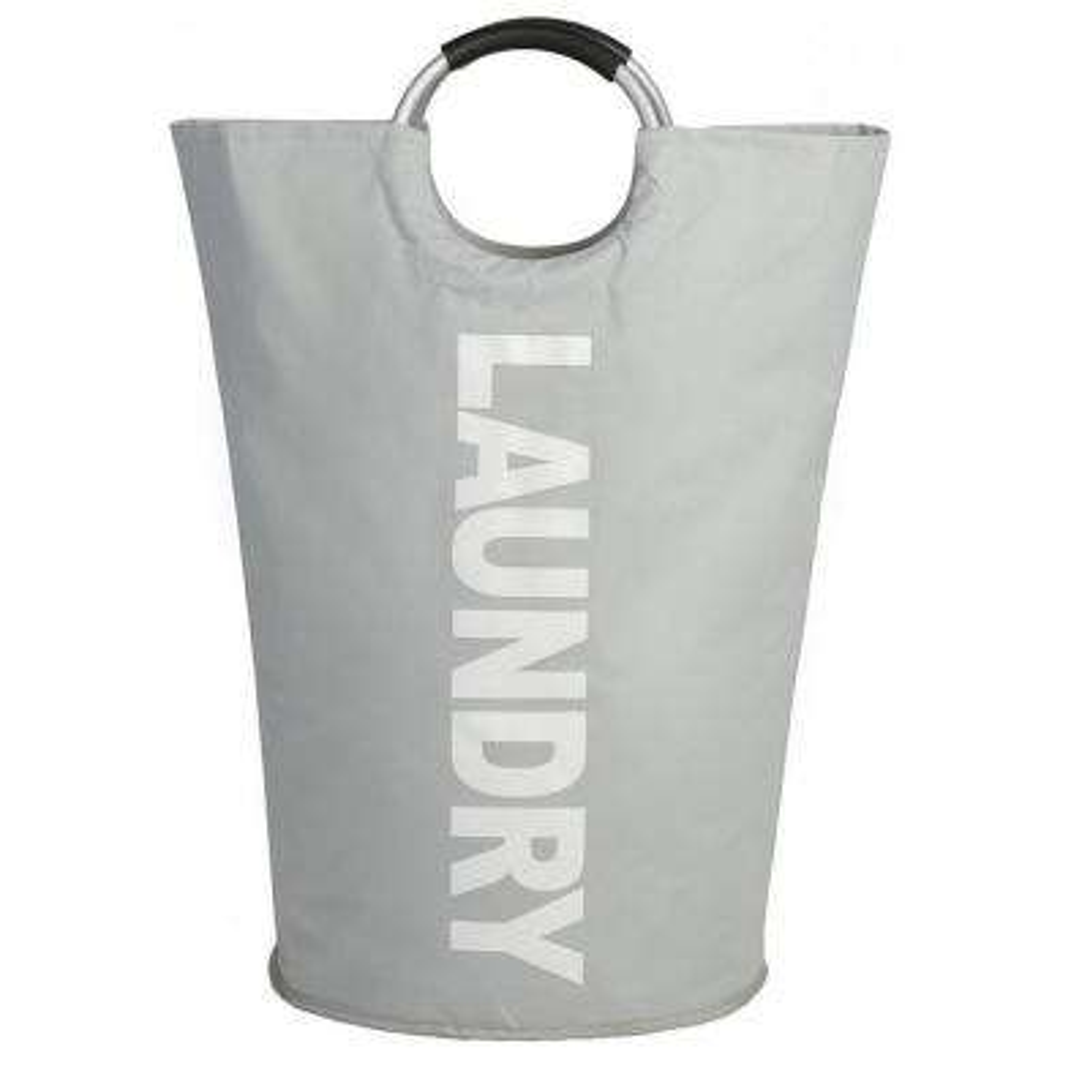 Light Gray Fabric Portable Foldable Laundry Basket
