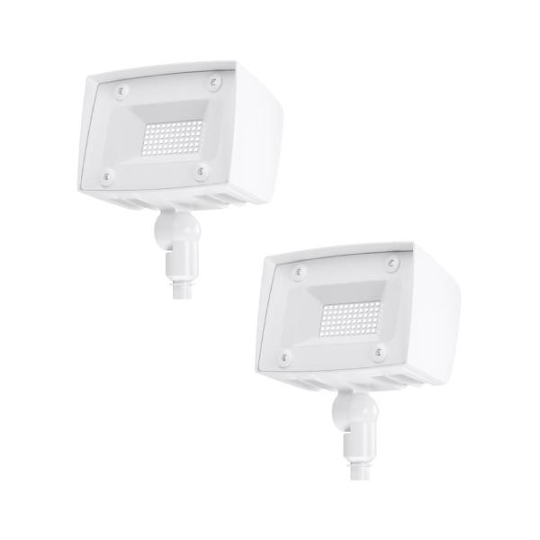 150-Watt Equivalent Integrated Outdoor LED Flood Light, 2000 Lumens, Outdoor Security Lighting (2-Pack)