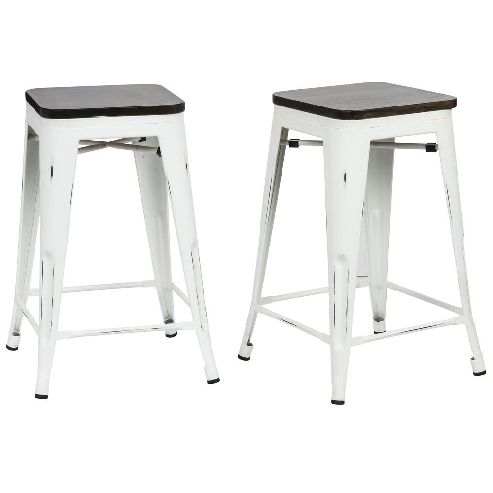 Carolina Forge Cormac 24 In Antique White Wood Seat Counter Stool