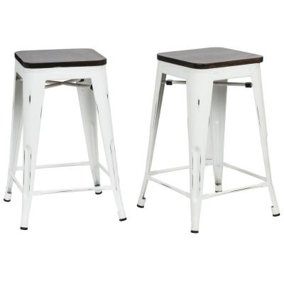 Cormac 24 in. Antique White Wood Seat Counter Stool (Set of 2)