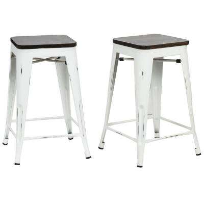Counter 24 27 White Carolina Forge Bar Stools Kitchen