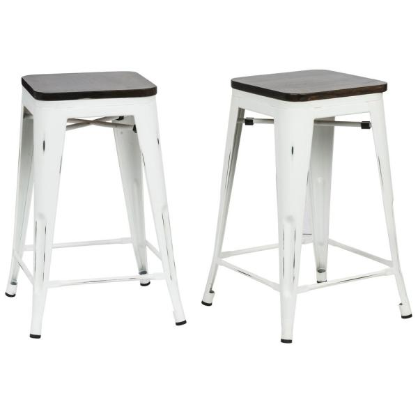 Cool Cormac 24 In Antique White Wood Seat Counter Stool Set Of 2 Pdpeps Interior Chair Design Pdpepsorg