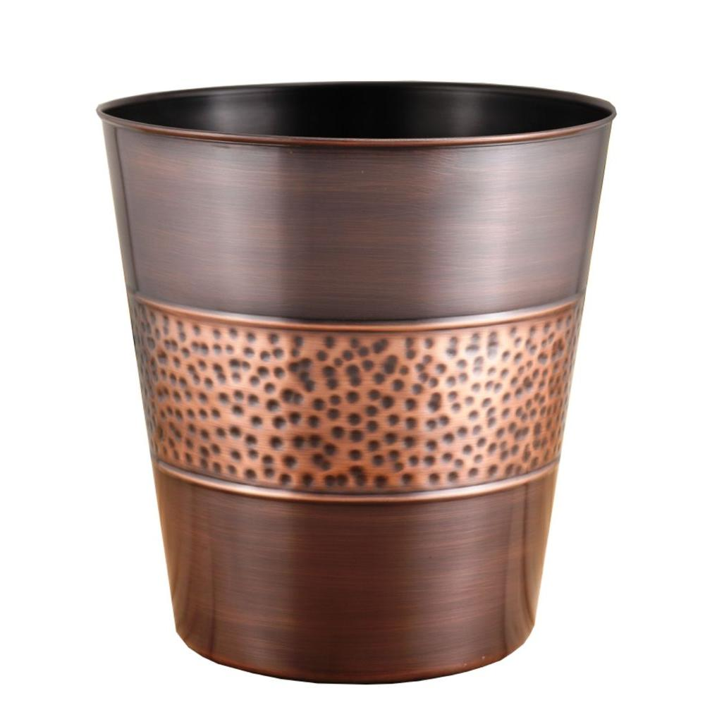 Fashion Home 3 gal. Hammered Tonal Bronze/Copper Round Trash Can
