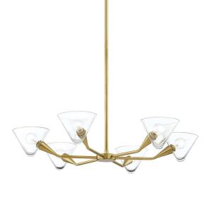 Isabella 6-Light Aged Brass Chandelier with Clear Shade