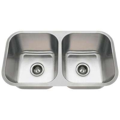 Undermount Stainless Steel 32 in. Double Bowl Kitchen Sink