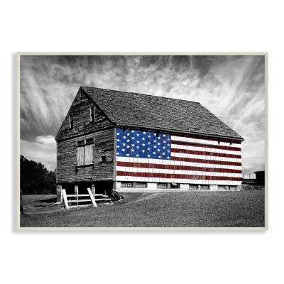 "13 in. x 19 in. ""Black and White Farmhouse Barn American Flag"" by James McLoughlin Wood Wall Art"