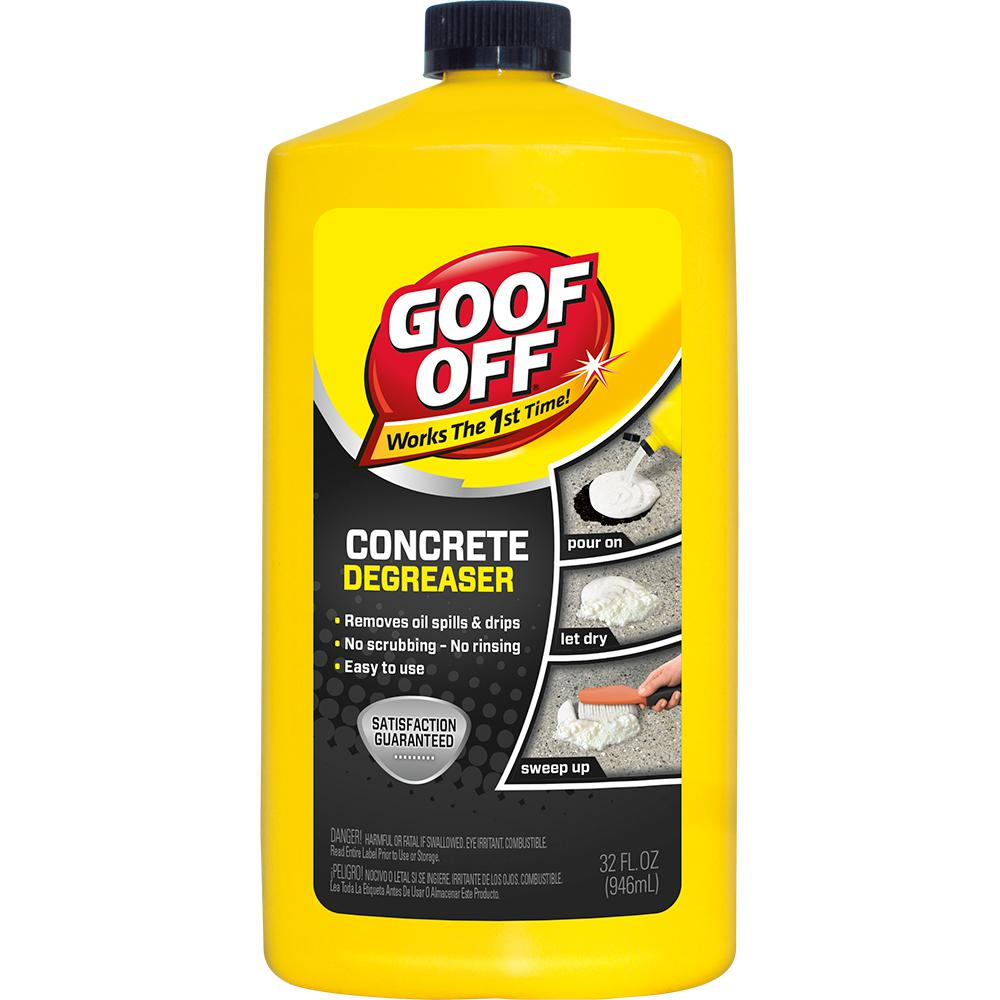 Goof off 22 oz heavy duty spot remover and degreaser for Clean oil off concrete