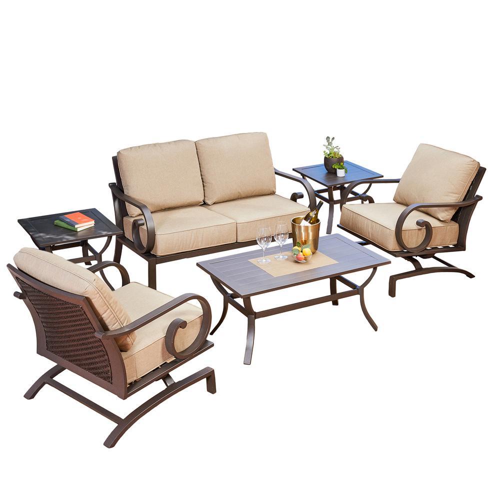 Milano 6-Piece Aluminum Patio Deep Seating Set with Tan Cushions