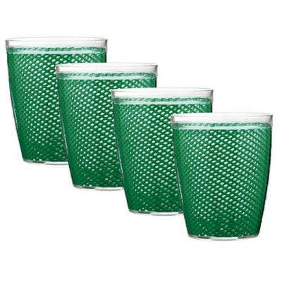 Fishnet 14 oz. Emerald Insulated Drinkware (Set of 4)