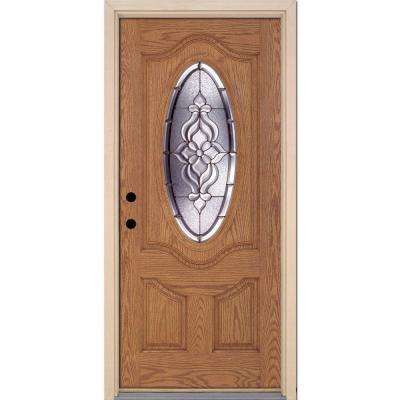37.5 in. x 81.625 in. Lakewood Zinc 3/4 Oval Lite Stained Light Oak Right-Hand Inswing Fiberglass Prehung Front Door
