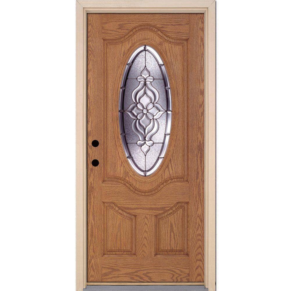 37.5 in. x 81.625 in. Lakewood Zinc 3/4 Oval Lite Stained Light Oak Fiberglass Prehung Front Door