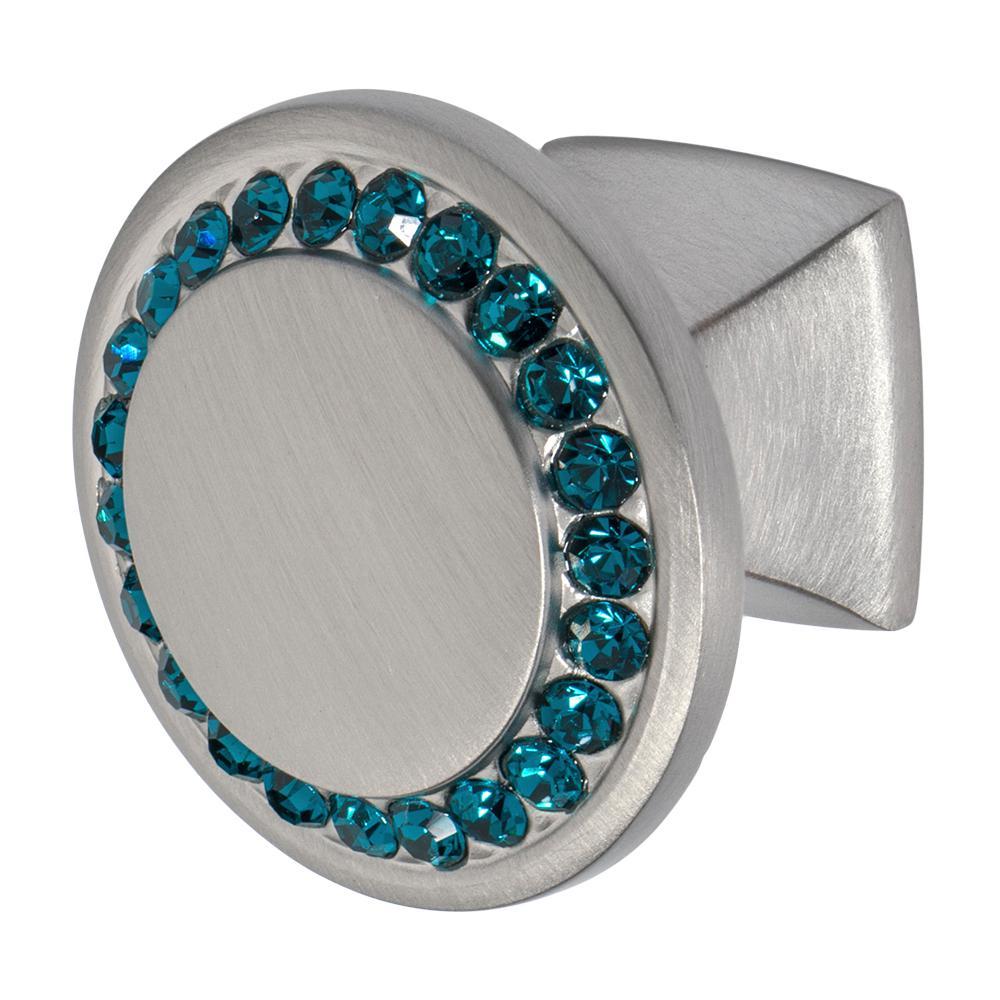 Satin Nickel With Ocean Blue Crystal Cabinet Knob