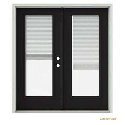 72 in. x 80 in. Black Painted Steel Left-Hand Inswing Full Lite Glass Active/Stationary Patio Door w/Blinds