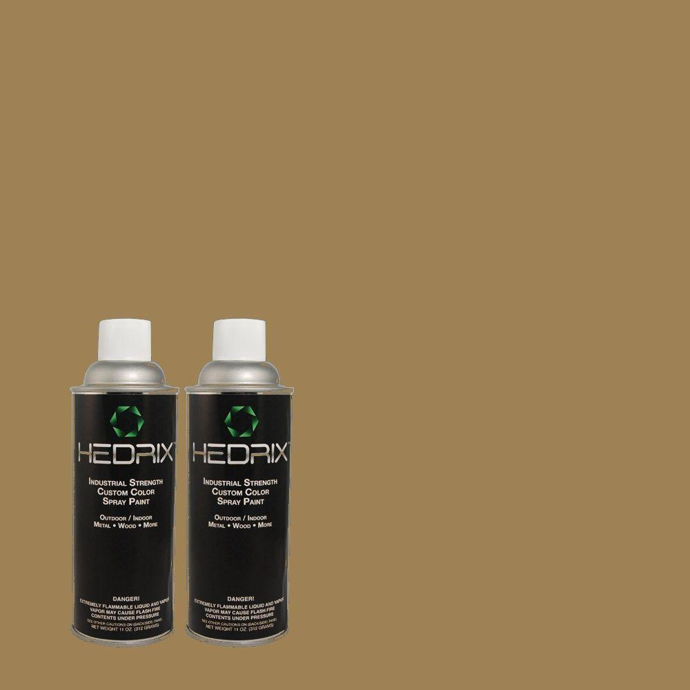 Hedrix 11 oz. Match of 3B4-6 Olive Bark Low Lustre Custom Spray Paint (2-Pack)