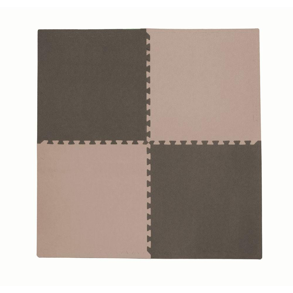 4-Piece Interlocking Taupe/Brown 50 in. x 50 in. EVA Floor Mat