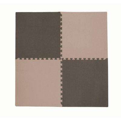 4-Piece Interlocking Taupe/Brown 50 in. x 50 in. EVA Floor Mat Set