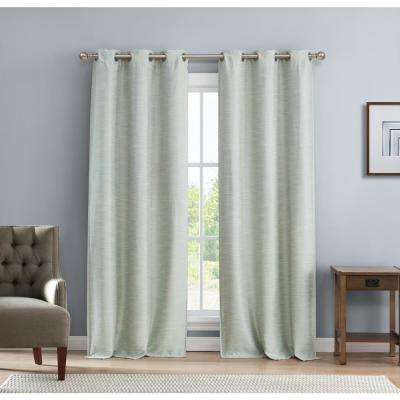 Solid Blue-Linen Polyester Blackout Grommet Window Curtain - 38 in. W x 112 in. L (2-Pack)