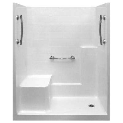 Ultimate 33 in. x 60 in. x 77 in. 1-Piece Low Threshold Shower Stall in White, Grab Bars, LHS Molded Seat, Right Drain
