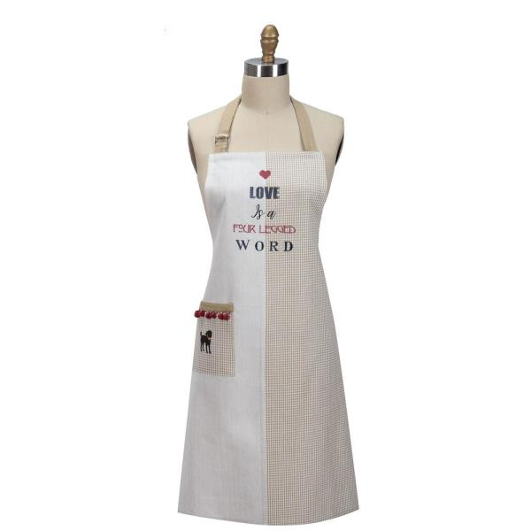 Fur Real Pets Four Legged Word Tan Embroidered Cotton Chef Apron